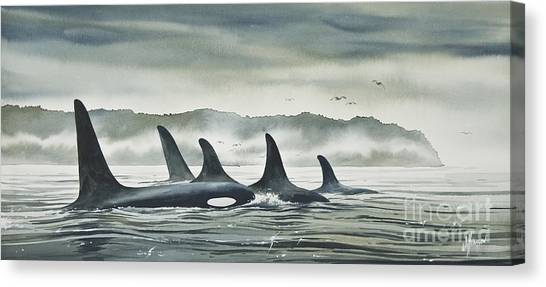Orcas Canvas Print - Realm Of The Orca by James Williamson