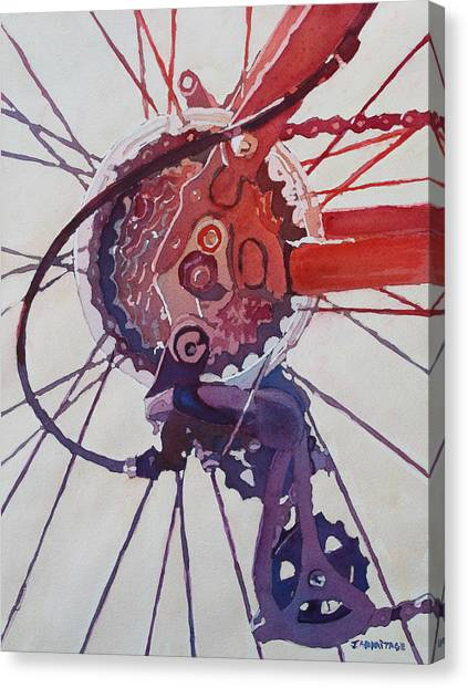 Bicycle Canvas Print - Rear Derailleur by Jenny Armitage