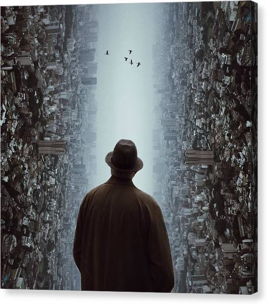 Rear View Of Man Looking At Flying Canvas Print by Chen Liu / Eyeem
