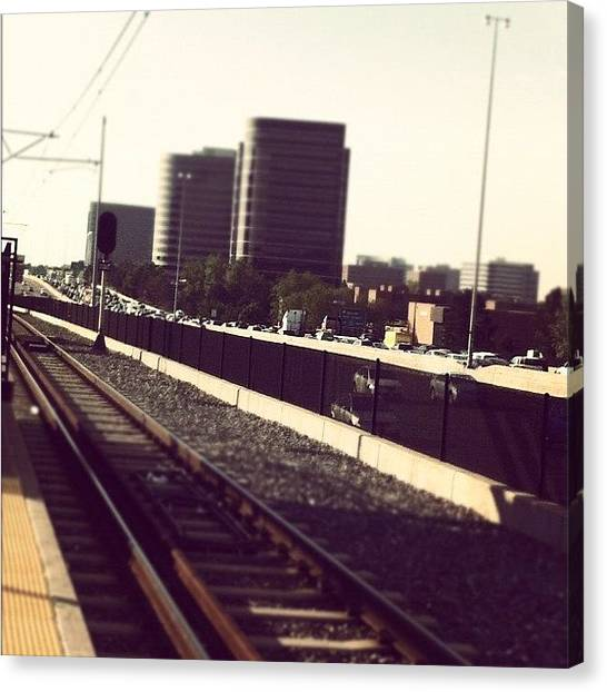 Light Rail Canvas Print - Reason Numero Uno For Taking Train by Amberly Rose