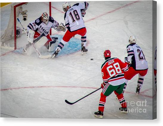 New Jersey Devils Canvas Print - Rebound by David Rucker