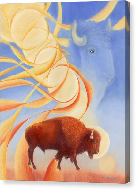 Bison Canvas Print - Receiving Buffalo by Robin Aisha Landsong