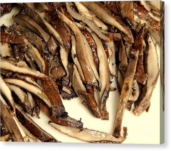 Portobello Mushroom Canvas Print - Recipes From The Dark Room by Michael Hoard