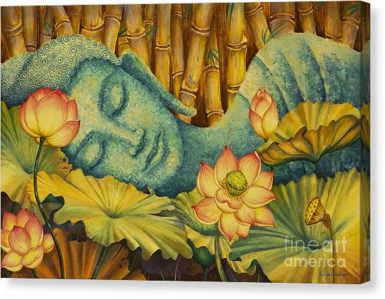 Nirvana Canvas Print - Reclining Buddha by Yuliya Glavnaya