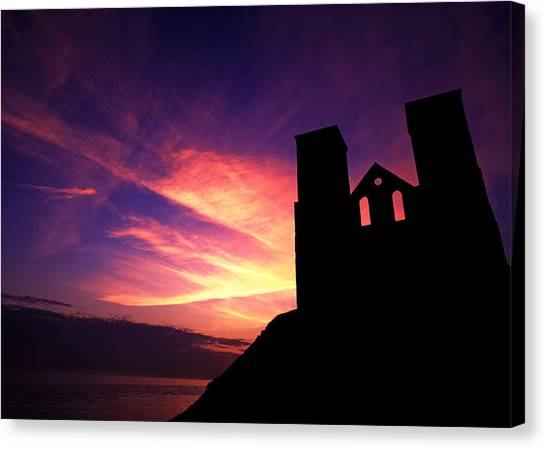 Reculver Church At Sunrise Canvas Print
