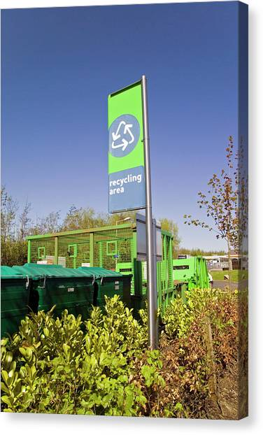 Recycling Collection Point Canvas Print by Simon Fraser/science Photo Library