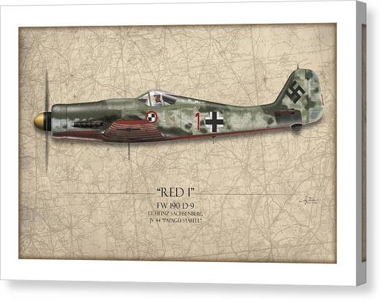 Luftwaffe Canvas Print - Red 1 Focke-wulf Fw-190d - Map Background by Craig Tinder