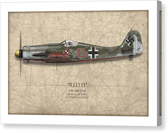 Luftwaffe Canvas Print - Red 13 Focke-wulf Fw 190d - Map Background by Craig Tinder