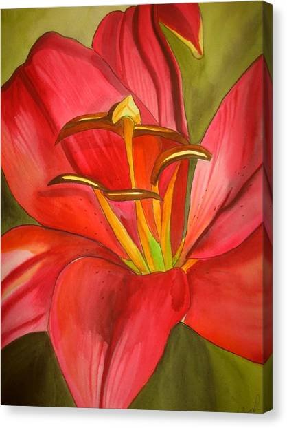 Red Alert Lily Canvas Print by Sacha Grossel