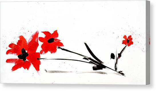 Red Rose Drawings Canvas Print - Red And Black Floral by Patricia Awapara