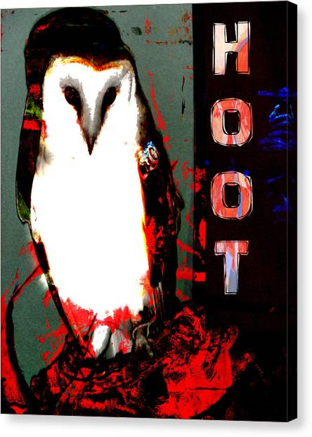 Red And Black Owl Art Canvas Print