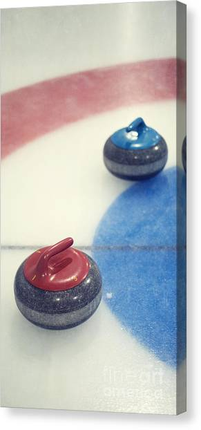 Iced Tea Canvas Print - Red And Blue Curling Rock by Priska Wettstein