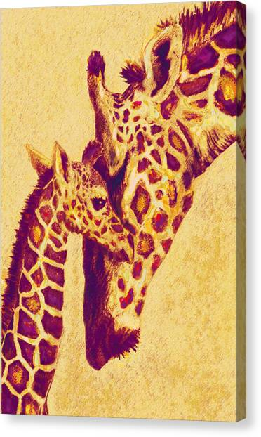 Red And Gold Giraffes Canvas Print