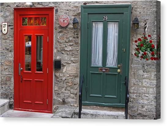 Red And Green Doors Of Quebec Canvas Print by Juergen Roth