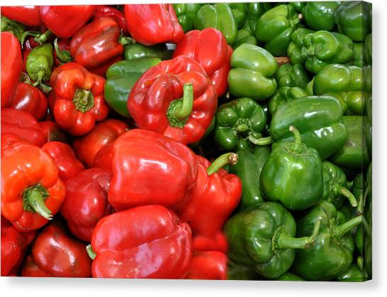 Red And Green  Peppers Union Square Farmers Market Canvas Print