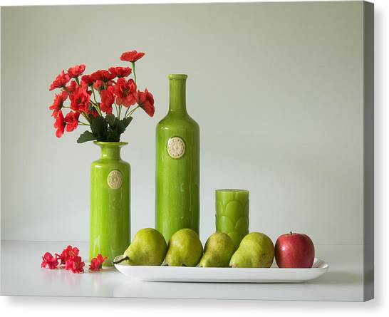 Red And Green With Apple And Pears Canvas Print by Jacqueline Hammer