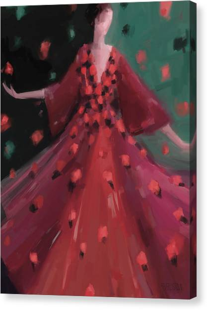 Abstract Portrait Canvas Print - Red And Orange Petal Dress Fashion Art by Beverly Brown Prints