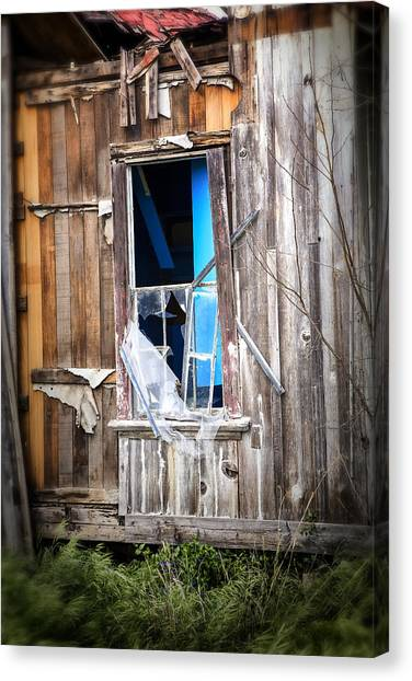 Abandoned House Canvas Print - Red And White And Blue by Caitlyn  Grasso