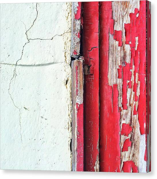 Old Age Canvas Print - Red And White Decay by Rene Constantin