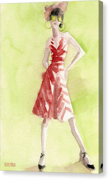 Limes Canvas Print - Red And White Striped Dress Fashion Illustration Art Print by Beverly Brown Prints