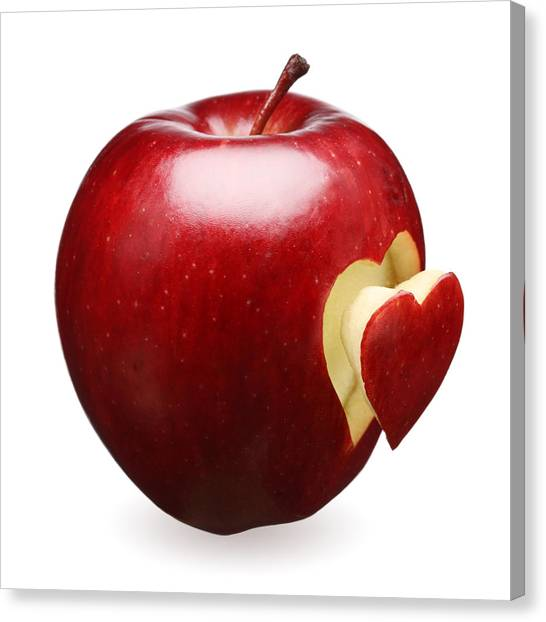 Apples Canvas Print - Red Apple With Heart by Johan Swanepoel