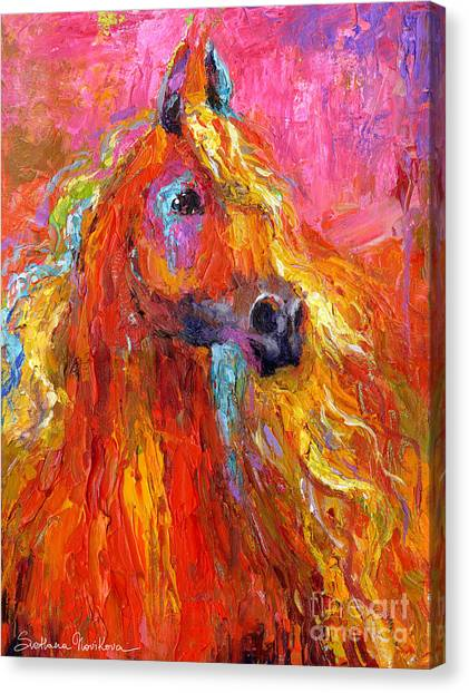 Abstract Horse Canvas Print - Red Arabian Horse Impressionistic Painting by Svetlana Novikova