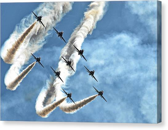 Formation Canvas Print - Red Arrows by Rafa? Czernia