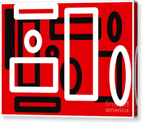 Red Back And White Design Canvas Print