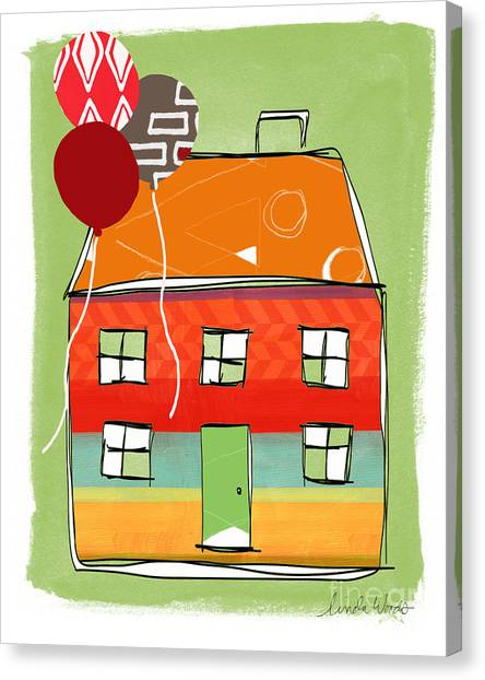 Triangles Canvas Print - Red Balloon by Linda Woods
