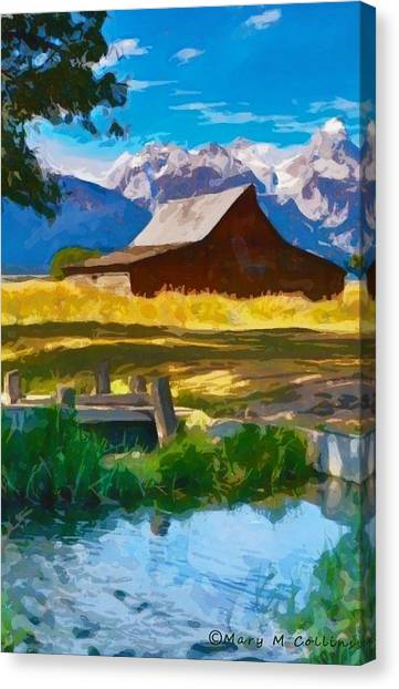 Red Barn And Mountains  Canvas Print