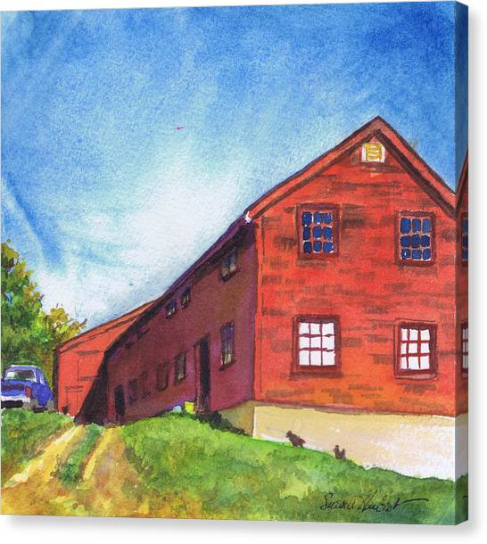 Red Barn Apple Farm New Hampshire Canvas Print by Susan Herbst