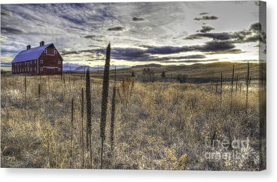 Red Barn At Sunset Canvas Print