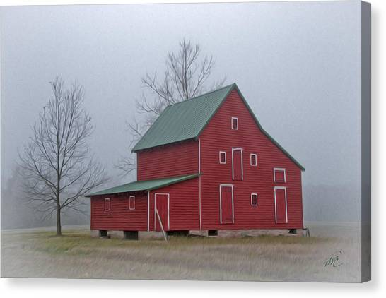 Canvas Print featuring the photograph Red Barn At Ware Neck by Williams-Cairns Photography LLC