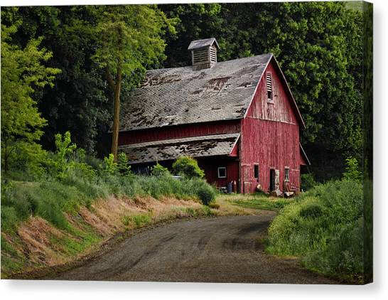 Red Barn - County Road  Canvas Print