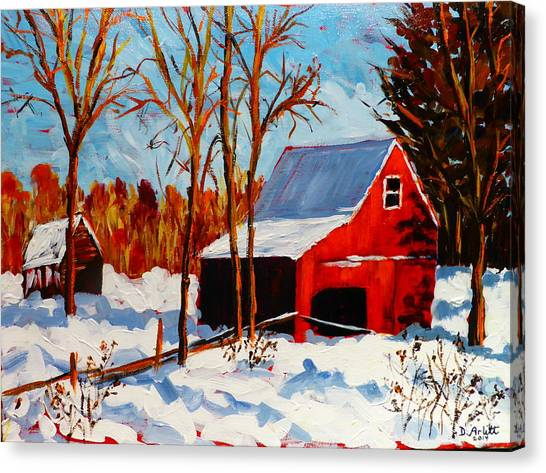 Red Barn First Snow Canvas Print