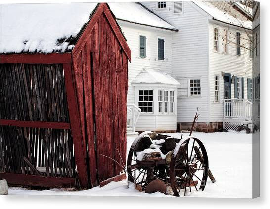 Red Barn In Winter Canvas Print - Red Barn In Winter by John Rizzuto