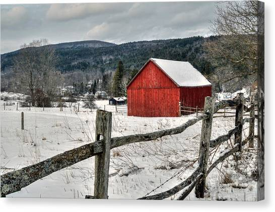 Red Barn In Winter - Tyringham Cobble Canvas Print
