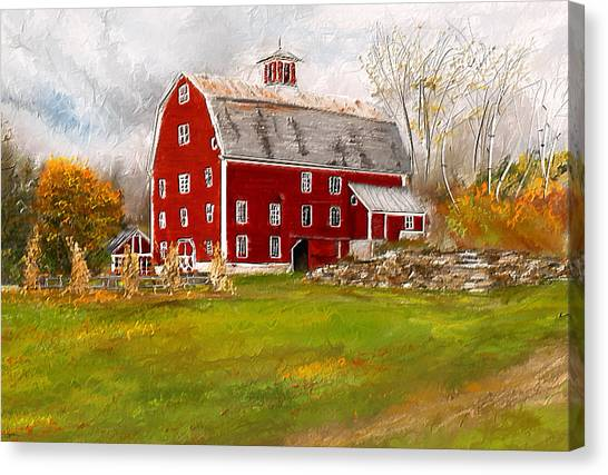 Country Roads Canvas Print - Red Barn In Woodstock Vermont- Red Barn Art by Lourry Legarde