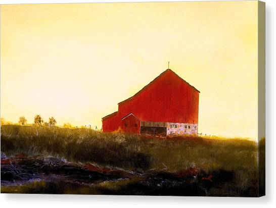 Red Barn On The Rocks Canvas Print