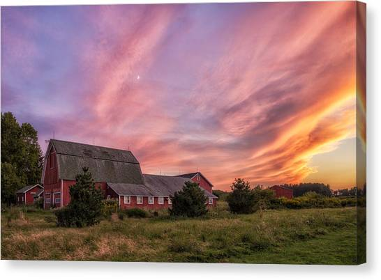Red Barn Sunset Canvas Print