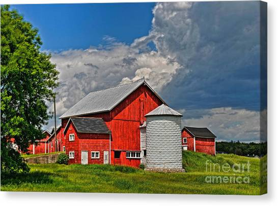 Red Barn White Silo Canvas Print