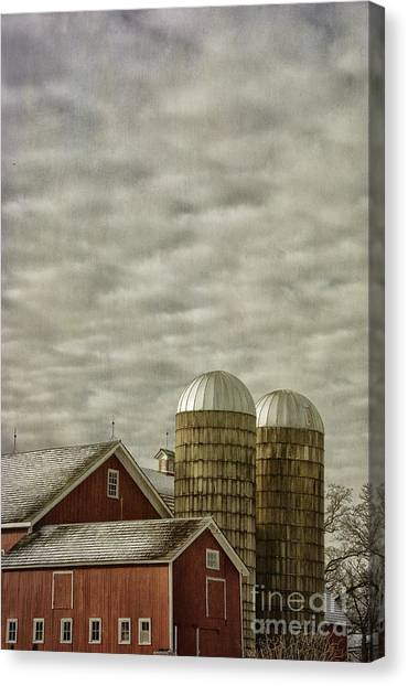 Red Barn With Two Silos Canvas Print