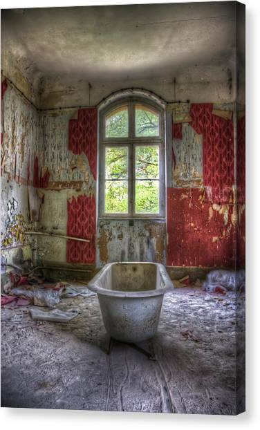 Red Bathroom Canvas Print
