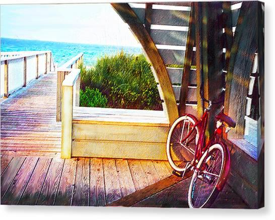 Red Bike On Beach Boardwalk Canvas Print