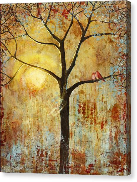 Lovebirds Canvas Print - Red Birds Tree Version 2 by Blenda Studio