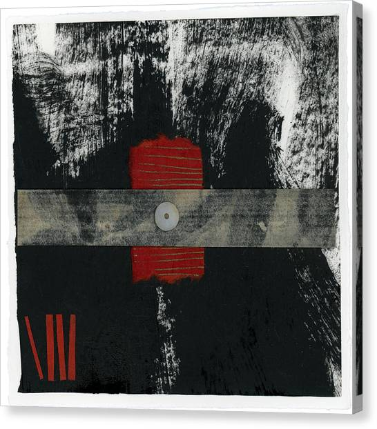 Torn Paper Collage Canvas Print - Red Black And White Collage 2 by Carol Leigh