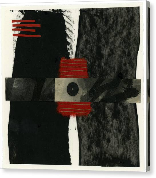 Torn Paper Collage Canvas Print - Red Black And White Collage 3 by Carol Leigh