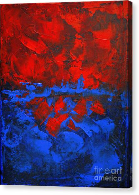 Red Blue Abstract Make It Happen By Chakramoon Canvas Print by Belinda Capol