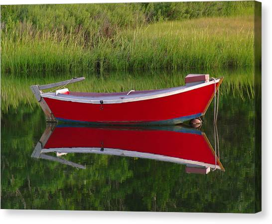 Dinghy Canvas Print - Red Boat by Juergen Roth