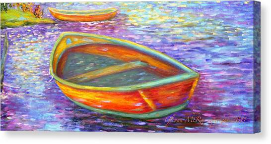 Red Boats On Autumn's Shore Canvas Print